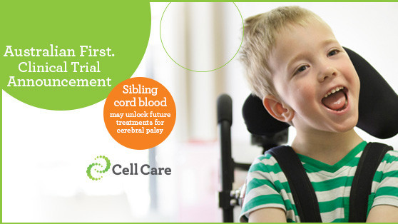 Young boy with CP looking at camera with text about the Sibling cord blood clinical trial announcement